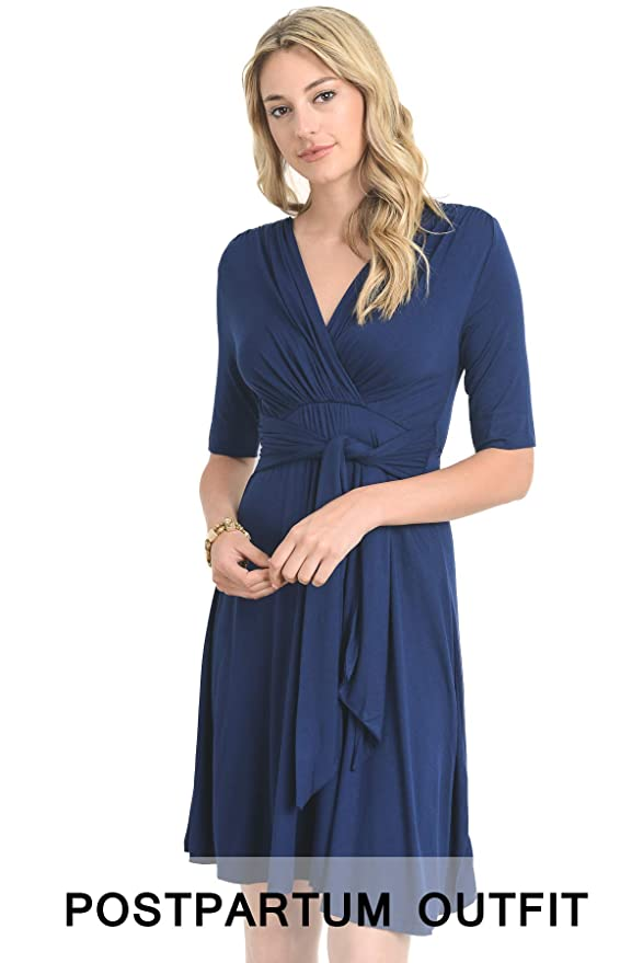 bd6fe7d0140 LaClef Women s Maternity Wrap Dress with Tie Waist Belt at Amazon Women s  Clothing store