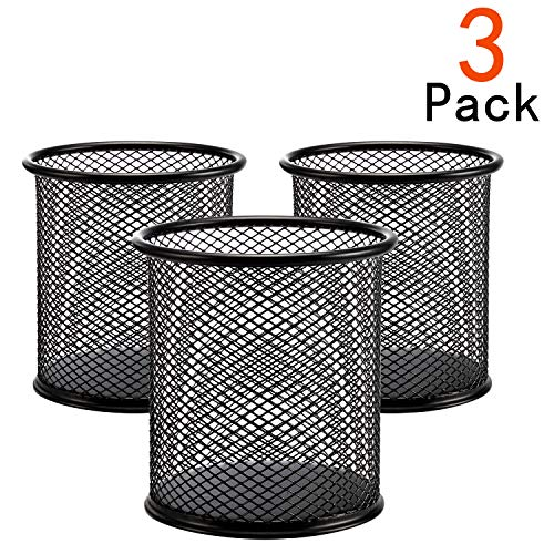 Desk Pen Holder - [3 Pack] Pen Holder - Pencil Holder for Desk - Metal Mesh Office Desk Pen Organizer Holders - Medium Sized Black Pen Cup Pencil Cup