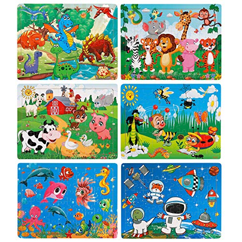 NASHRIO Kids Puzzles Set of 6 – 60 Piece Wooden Jigsaw Puzzles Toys for 3-8 Boys and Girls – Preschool Educational and Fun Themes – Animals, Dinosaurs, Insects, Farm, Benthos, Planets