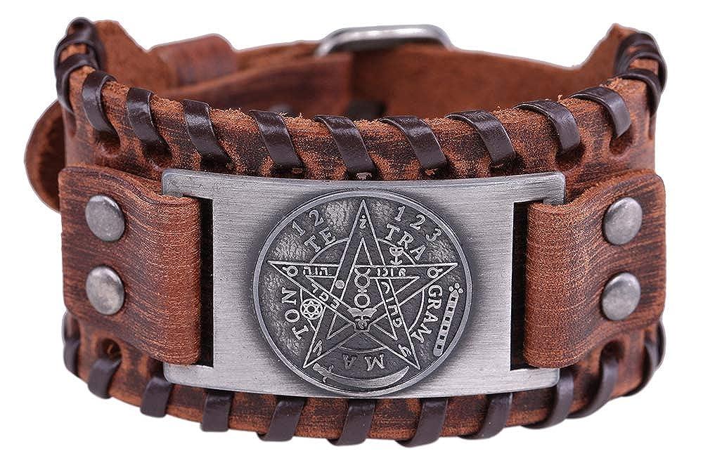 LIKGREAT Solomon Pentagram Hermetic Tetragrammaton Cuff Wide Leather Bracelet for Men
