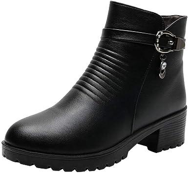 Posional Botas Mujer Moteras Botines Remaches Moda Casual Calzado Zapatillas con Cordones Zapatos De TacóN Puntiagudos Hebilla Punta Estrecha para Mujer Casuales TacóN Grueso Caballero Occidental: Amazon.es: Ropa y accesorios