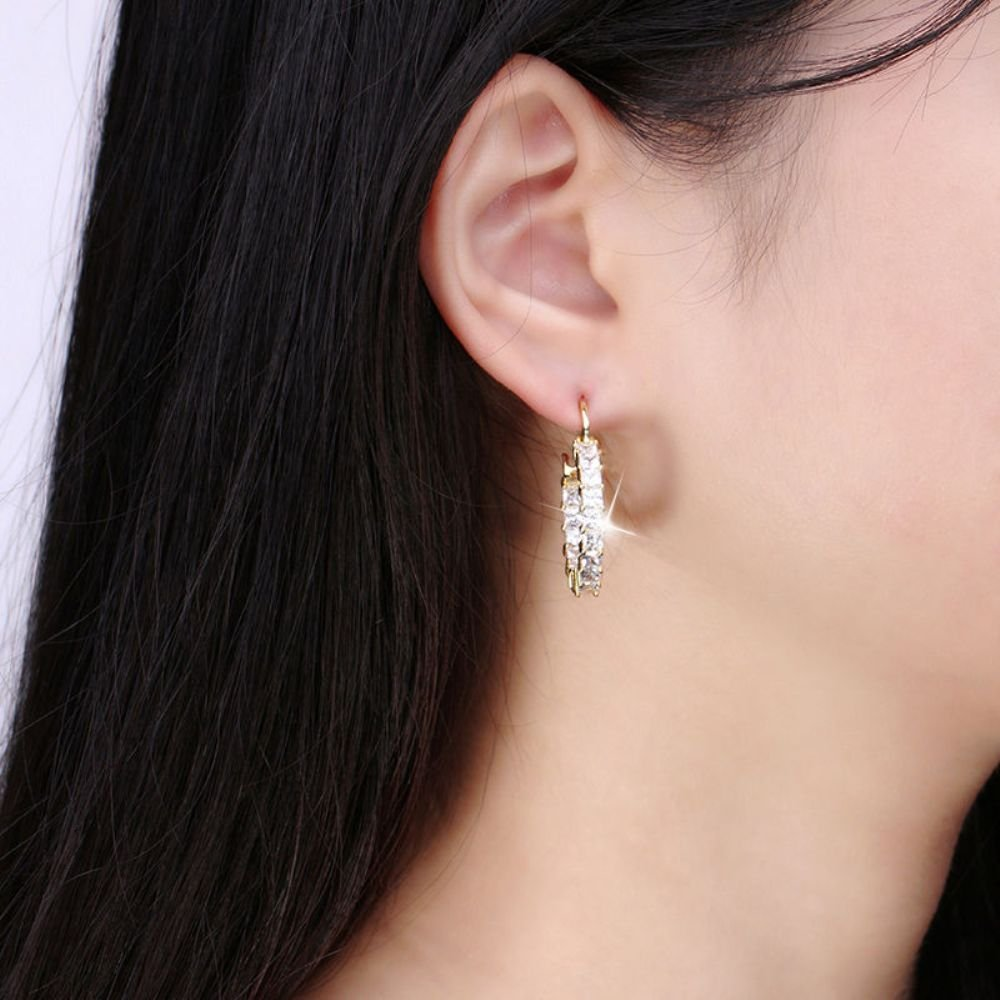Dividiamonds 18k Yellow Gold Plated 5mm Princess Cut Cubic Zirconia Inside Out Round Small Hoop Earrings
