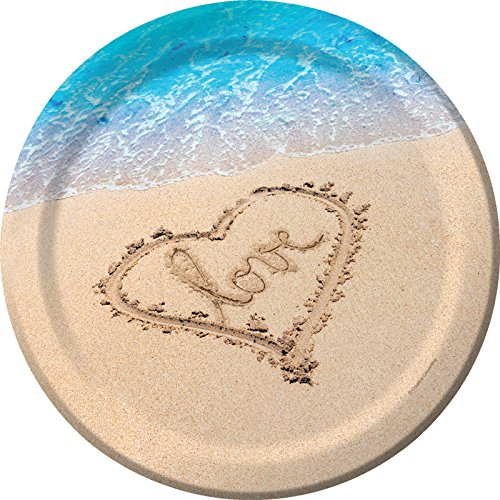 Creative Converting 8-Count Sturdy Style Beach Wedding Paper Banquet Plates, Beach Love (327366)