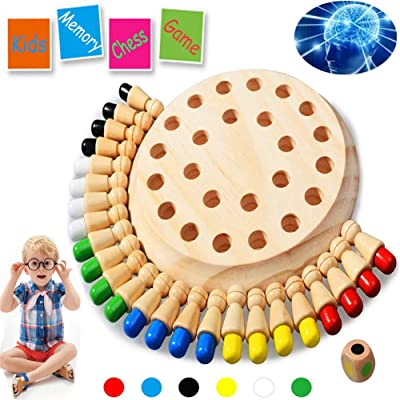 Newly Children Wooden Memory Matchstick Chess Game Block Board Educational Intelligent Games Logic Braintease Toys for Boys and Girls: Toys & Games