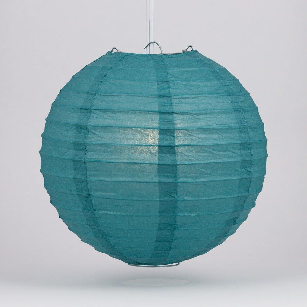 Quasimoon PaperLanternStore.com 16'' Steel Blue Round Paper Lanterns (10 Pack)