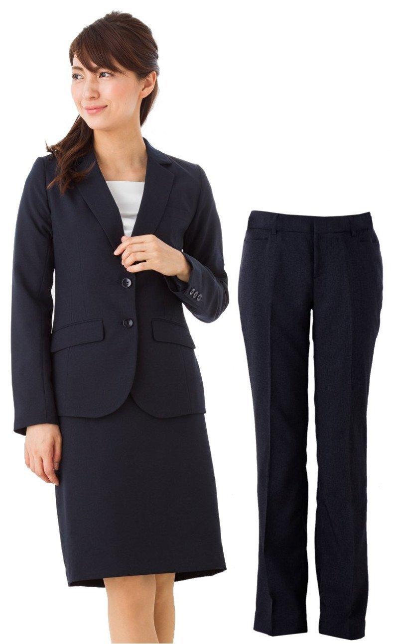 (アッドルージュ) スーツ レディース 3点セット タイトスカート パンツ ジャケット 洗える 洗濯 消臭抗菌【j5001-5002】 B00R4EQJMS 19号ABR|【B/2つボタン】ネイビー 【B/2つボタン】ネイビー 19号ABR