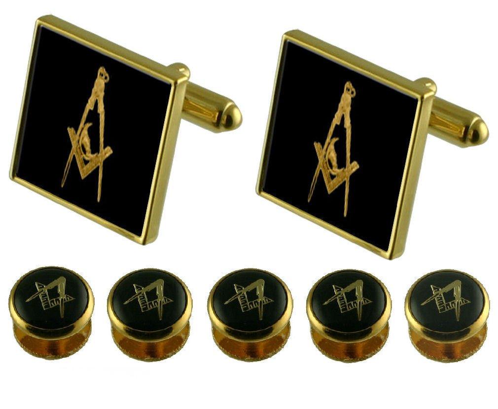 Junior Deacon Gold Cufflinks Masonic 5 Shirt Dress Studs Box Set