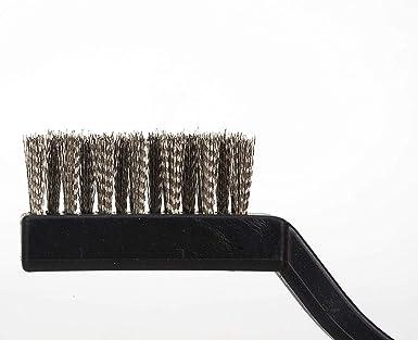 XelparucTS - Juego de cepillos de alambre para limpieza de soldadura y óxido, mango curvado