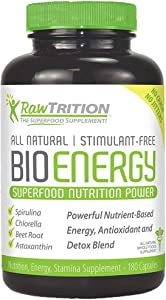 RawTrition BioEnergy Superfood Nutrition Power – Antioxidant, Sugar & Gluten Free – Natural Nutrition, Energy & Stamina Supplement – 180 Capsules