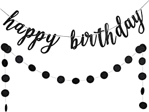 Black Glittery Happy Birthday Banner and Black Glittery Circle Dots Garland- Birthday Party Decorations,Happy Birthday Signs,Outdoor Happy Birthday Banner