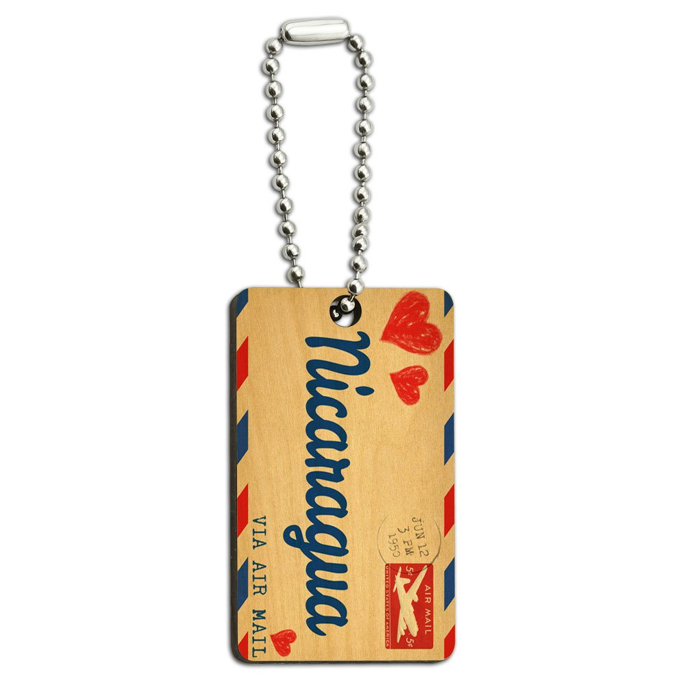 Air Mail Postcard Love for Nicaragua Wood Wooden Rectangle Key Chain