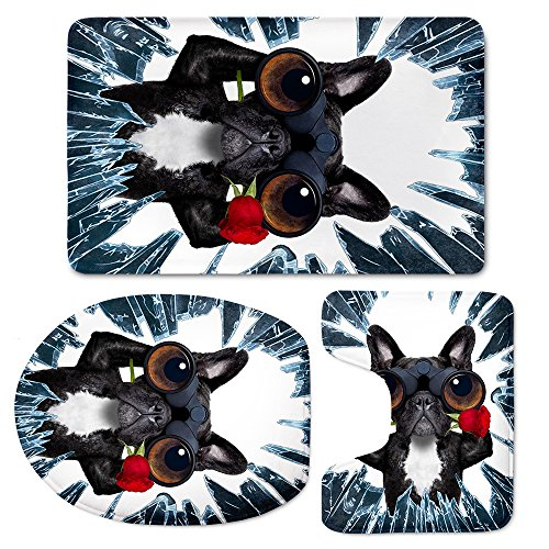 HUGS IDEA Frozen Black Bulldog Print Funny Bath Mat Set with Non-Slip Rug/Contour /Toilet Lid Cover 3 - Frozen Bath Rug