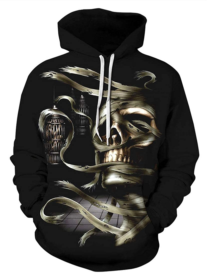 MaiS Womens Loose Halloween Hoodie Skull Print Long Sleeve Autumn Winter Unisex Pullover Hoodie