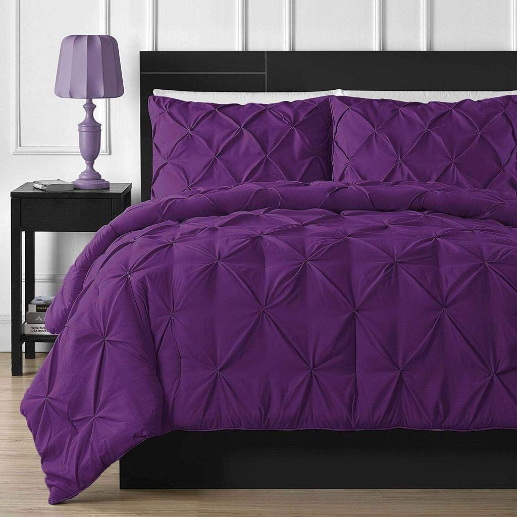 by AP Beddings King Size, Purple Luxurious 600 Thread Counts 1 Piece Pinch Pleated Duvet Cover Stain Resistant and Hypoallergenic 100/% Egyptian Cotton