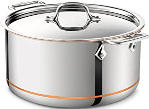 All-Clad 6508 SS Copper Core 5-Ply Bonded Dishwasher Safe Stockpot/Cookware, 8-Quart, Silver