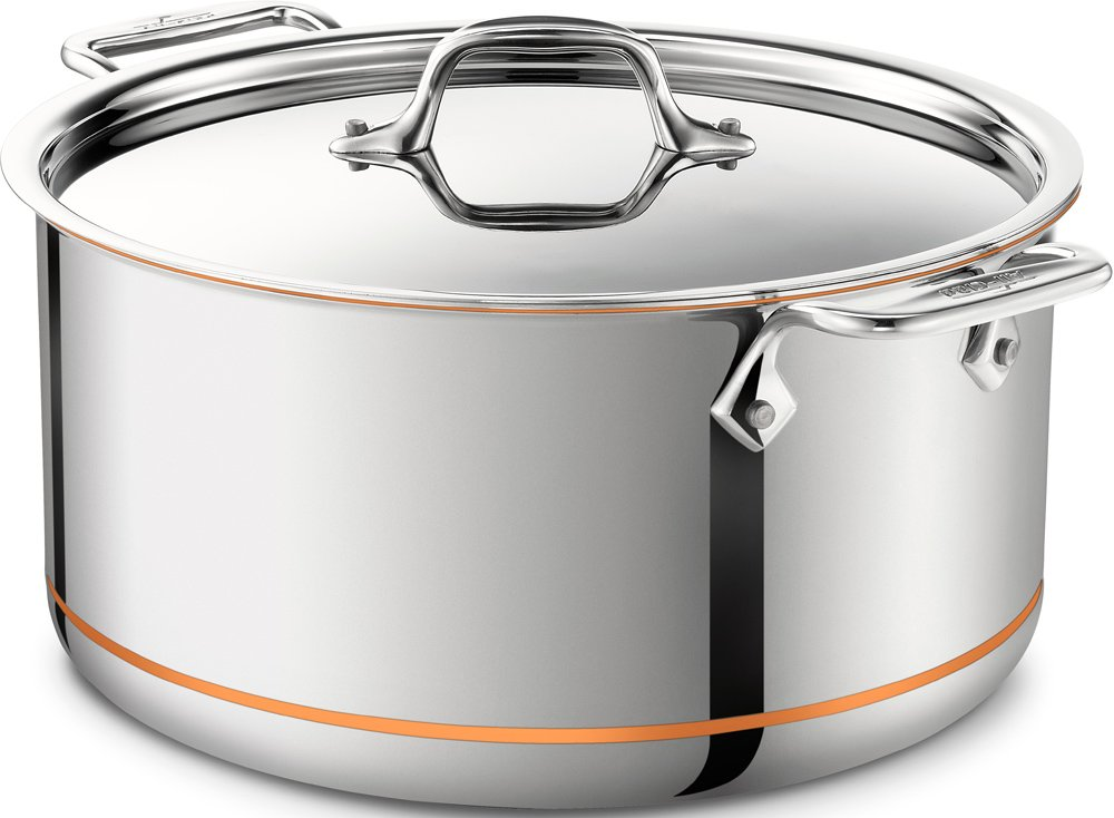 All-Clad 6508 SS Copper Core 5-Ply Bonded Dishwasher Safe Stockpot / Cookware, 8-Quart, Silver
