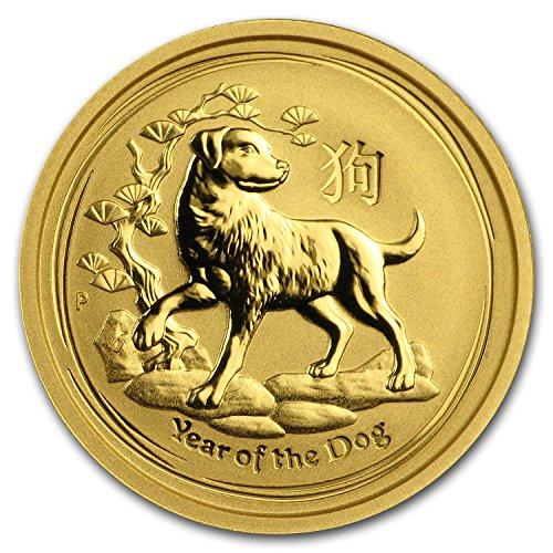 2018 AU Australia 1/10 oz Gold Lunar Dog BU Gold Brilliant Uncirculated