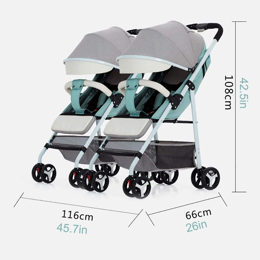 ZDMSEJ Curve Tandem Double Stroller for Infants Color : Blue+Pink 360/° Turning Toddlers or Twins Multiple Seating Options