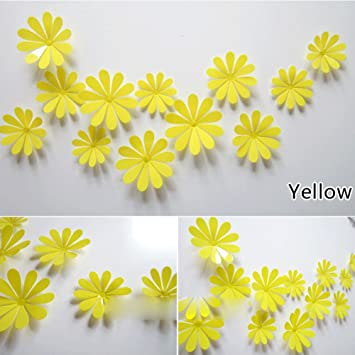 Amazon.com: ROPALIA 3D DIY 12pcs Flowers Sticker Decor Mirror Wall ...