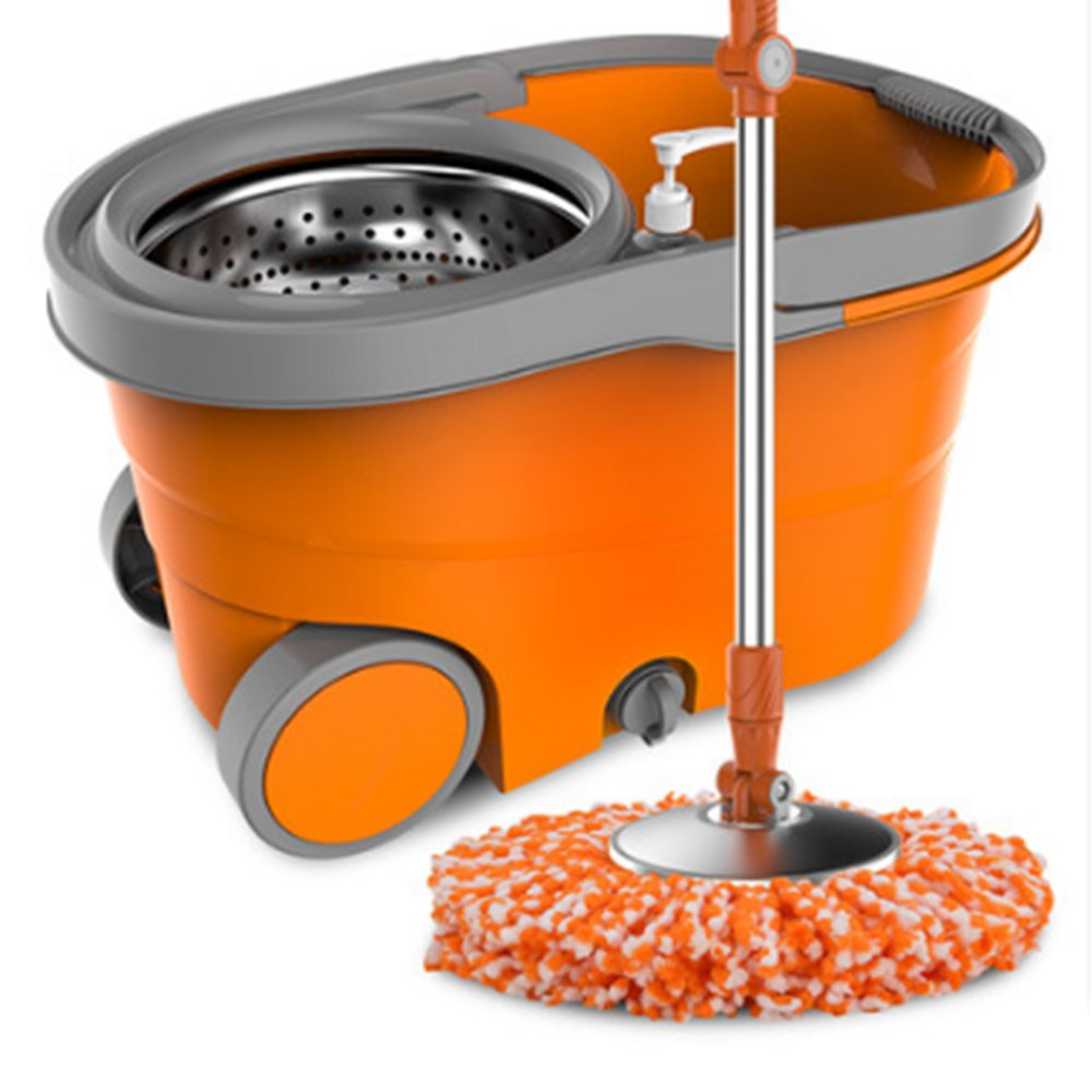 Double - drive household steel hand pressure mop, hand wash, automatic mop mop (orange)