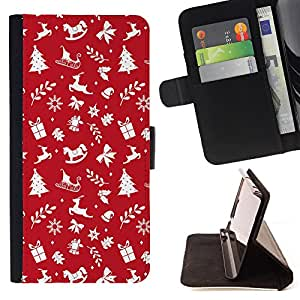 Dragon Case- Mappen-Kasten-Prima caja de la PU billetera de cuero con ranuras para tarjetas, efectivo Compartimiento desmontable y correa para la mu?eca FOR Sony Xperia M2 s50h Aqua- Merry Christmas Tree Green Red Deer Snow