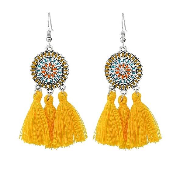 Fossrn Pendientes Largos, Mujer Pendientes Baratos Flecos Borlas Aretes para Fiesta (Amarillo): Amazon.es: Ropa y accesorios