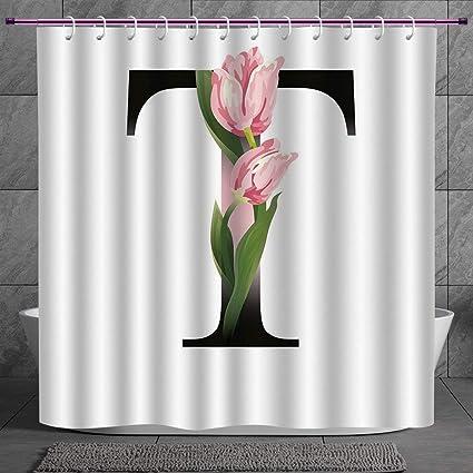 Stylish Shower Curtain 2 0 [ Letter T,Spring Garden Alphabet Font