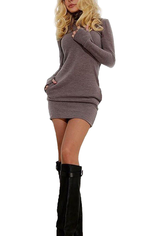Suvotimo Women Winter Pullover Sweater Sweatshirts Dress Mini Bodycon Dresses CAMEG279