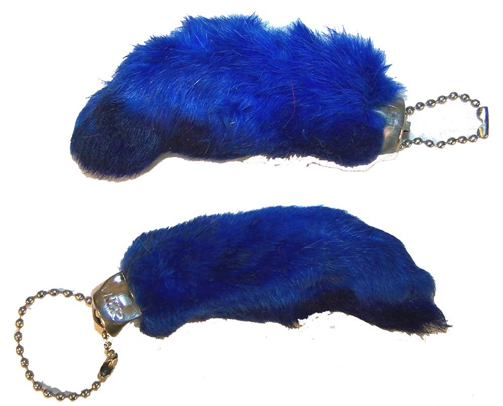 2 Pieces of the Blue Color Novelty Real Rabbit Foot Key Chains