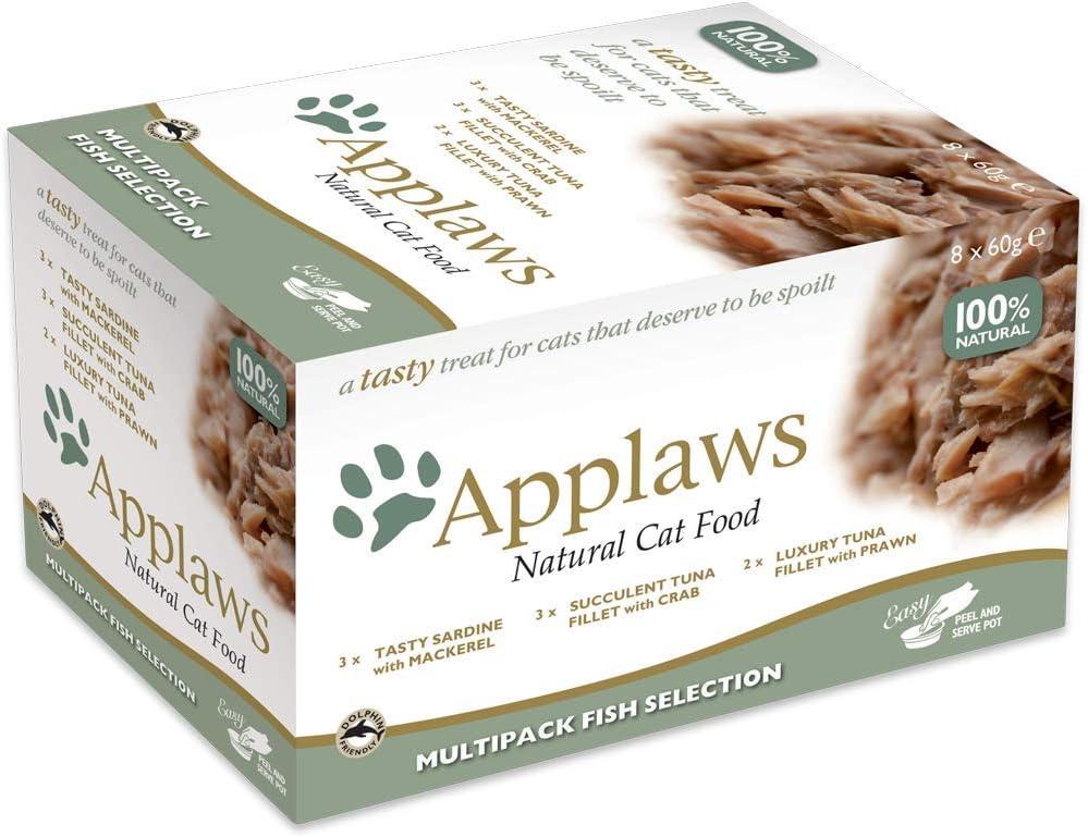 Applaws Comida para Gatos, Multipack selección de Pescado en Caldo, 8 x 60 g (Paquete de 4, Total de 32 macetas)