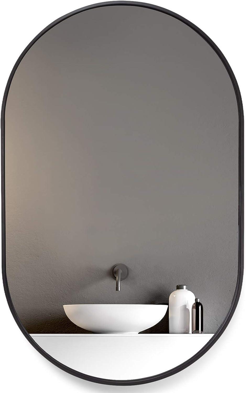 HOWOFURN Wall Mounted Mirror, 24x36 Oval Bathroom Mirror, Black Vanity Wall Mirror w/ Stainless Steel Metal Frame & Cross Hooks for Vertical & Horizontal Hang, Ideal for Bedroom, Bathroom, Living Room