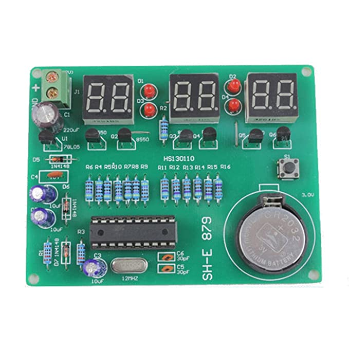 Gaoxing Tech. DIY kit módulo 9V-12V AT89C2051 6 Digital LED reloj electrónico componentes de piezas