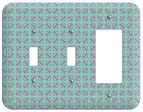 - Multi Aqua with Fuschia Concentric Circles Overlay 2 Toggle / Rocker Wallplate
