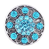 Wholesale Vocheng 18mm Snap Charm Inlaid Blue Crystal DIY Button Vn-103520 Pack of 20pcs