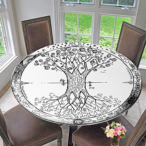 Mikihome Chateau Easy-Care Cloth Tablecloth Tree with Round Cycle of Life Spiritual Universe Theme Black White for Home, Party, Wedding 63