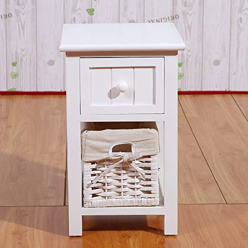 Set of 2 White Storage Wood End Side Bedside Small Table with drawer and baske for Little Bedroom 12x11x17.7in LXWXH