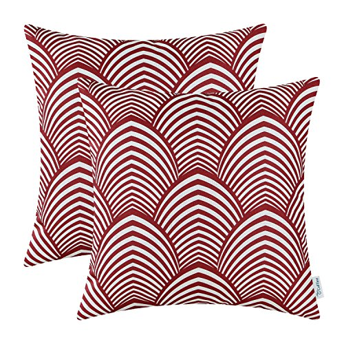 Pack of 2 CaliTime Throw Pillow Covers 18 X 18 Inches, Modern Petaloid Waves, Burgundy