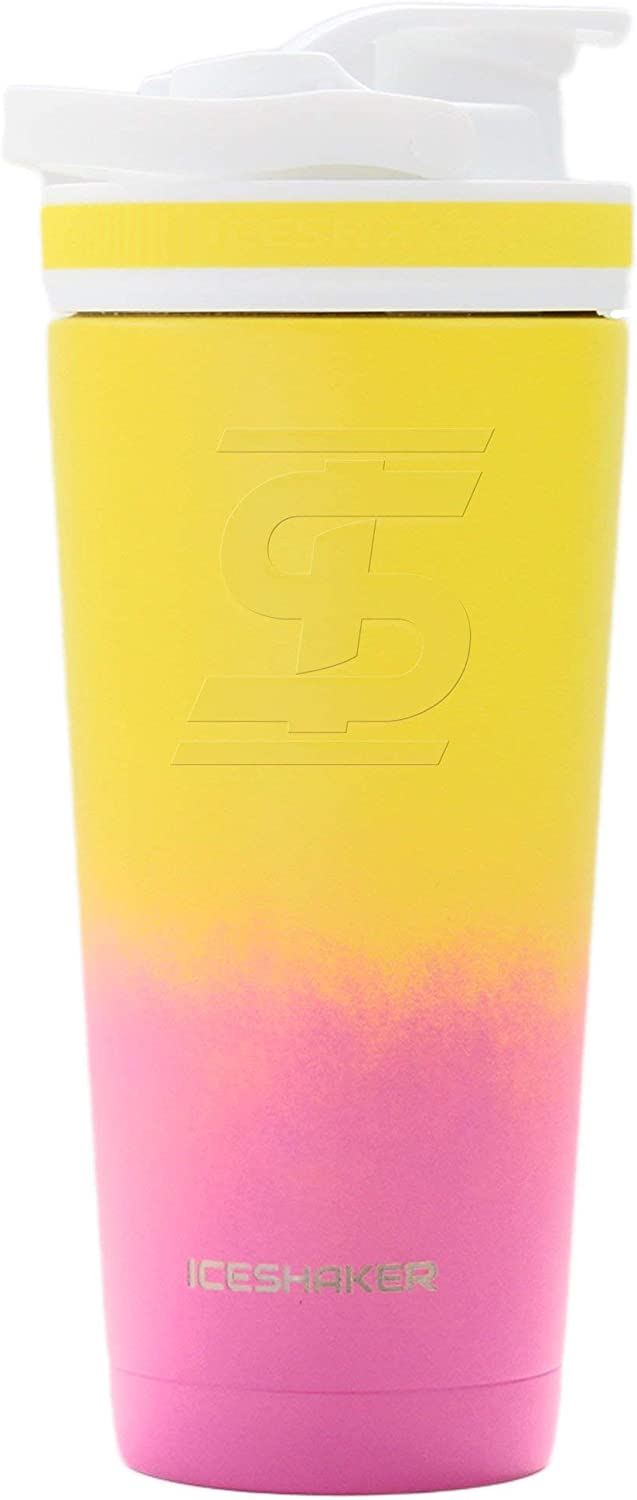 Ice Shaker Stainless Steel Insulated Water Bottle Protein Mixing Cup (As seen on Shark Tank) | Gronk Shaker | 26 Oz (Flamingo)