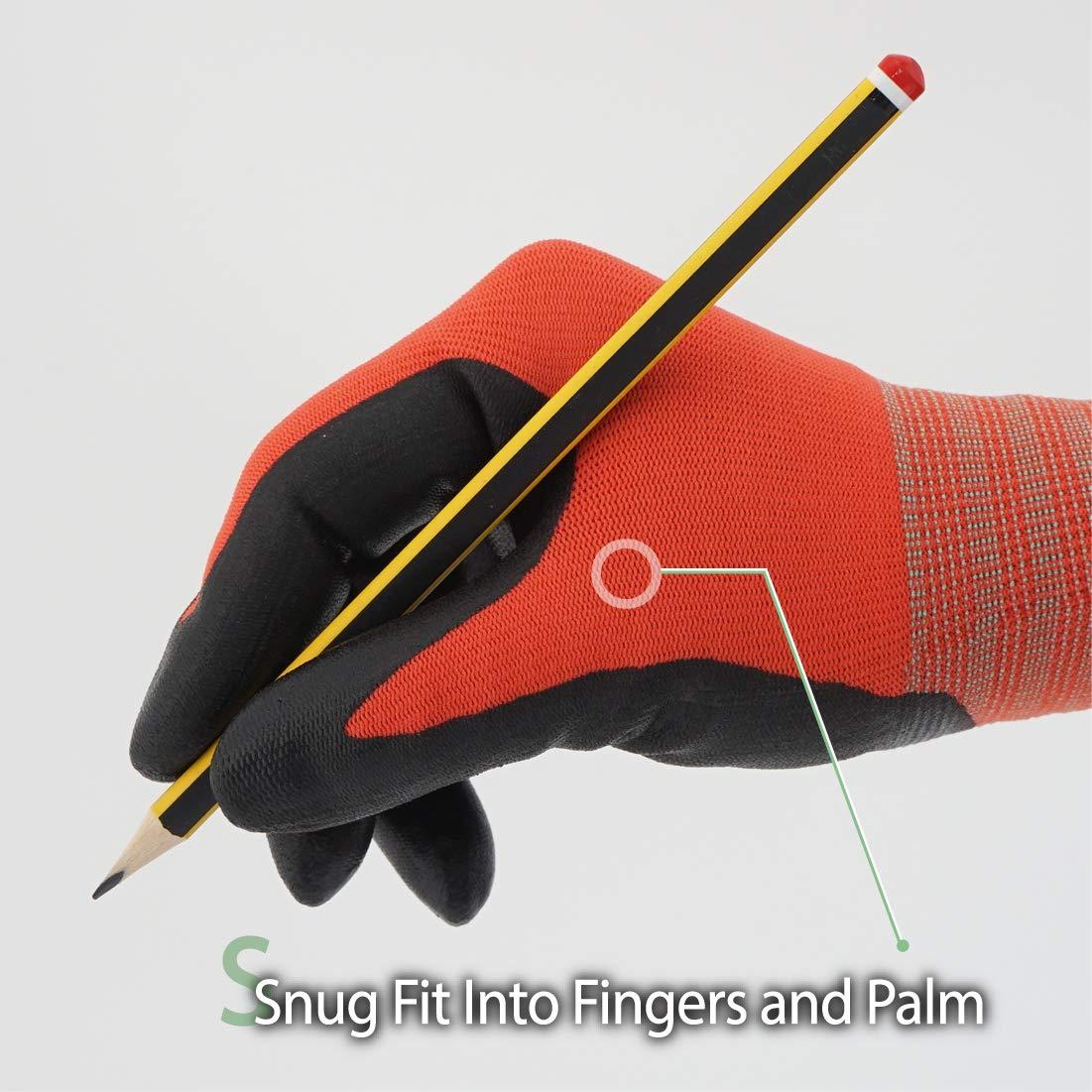 DEX FIT Guantes de trabajo de invierno Warm Fleece Negro NR450 Comfort Stretchy Fit Power Grip Delgado y ligero Lavable en la lavadora Grande 3 Pairs Recubrimiento de nitrilo duradero