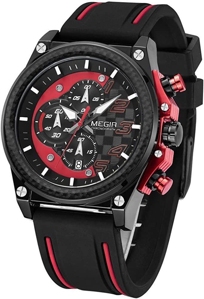 Megir Mens Silicone Bracelet Chronograph Sport Army Military Quartz Wrist Watches with Calendar