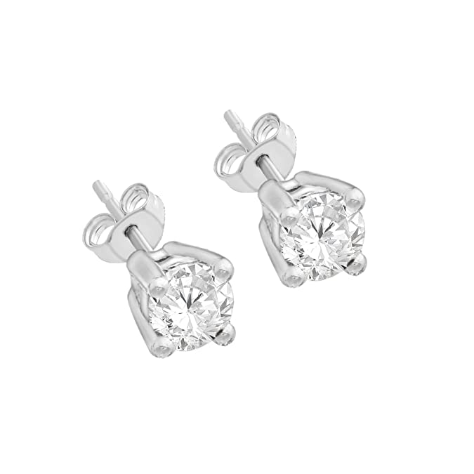 Carissima Gold 9ct White Gold 0.25ct Square Diamond Stud Earrings BX6WII