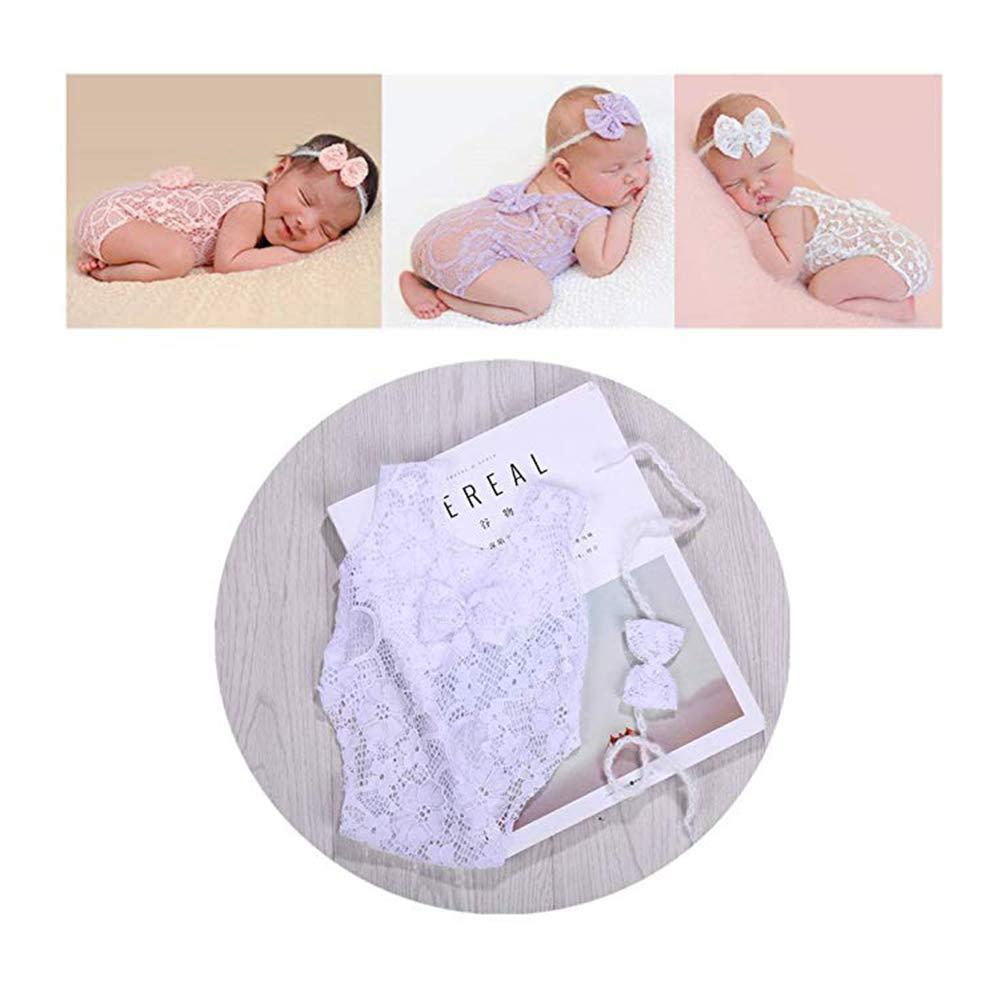 Neonato Baby fotografia puntelli ragazza pizzo tiro con l' arco pagliaccetto a Gilet Foto Principessa Abbigliamento beige Beige BINLUNNU