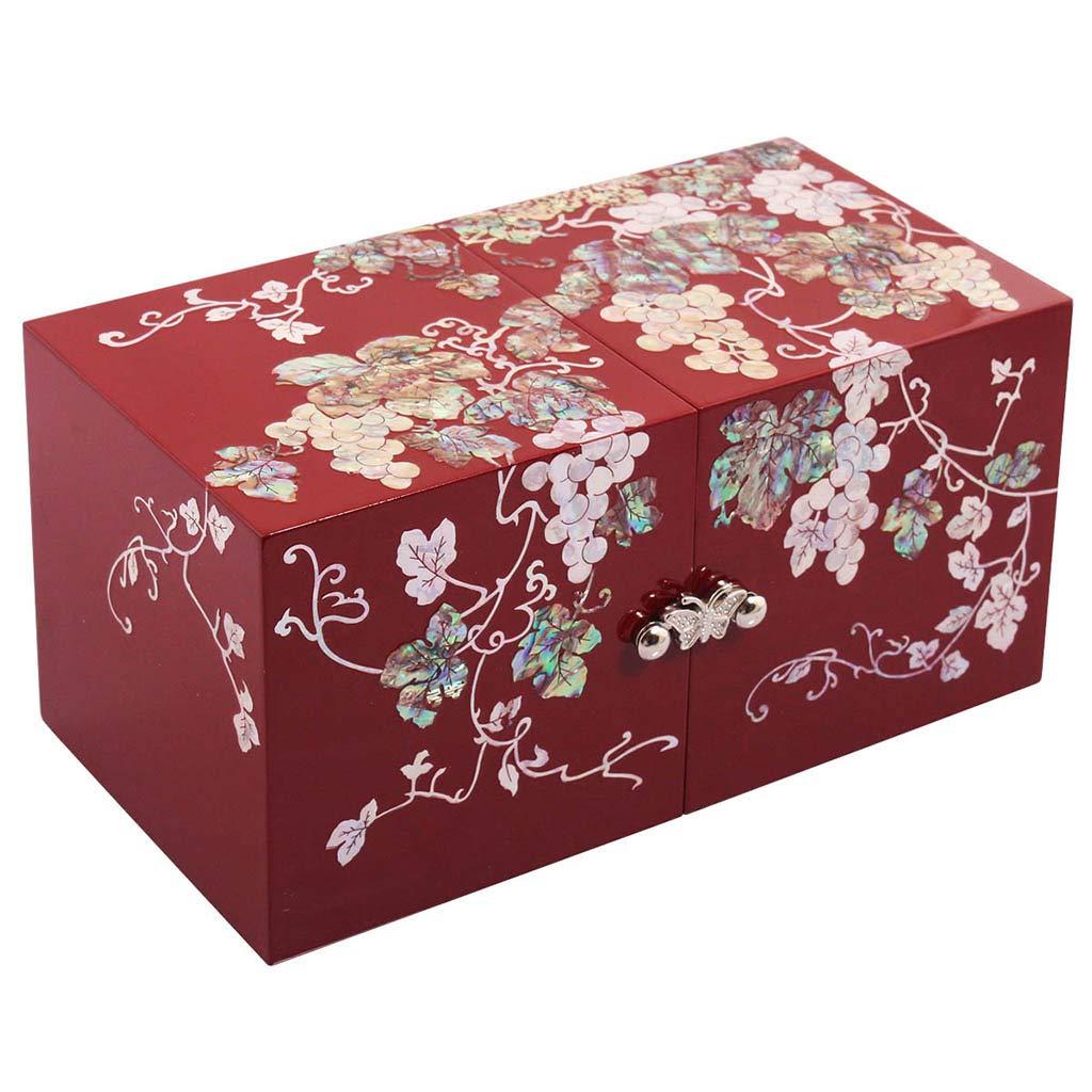 LIYANSSH - Cajas para joyas Joyero Organizador de Anillos con 4 cajones Estuche de Laca de 2 Niveles con Incrustaciones de Madre y Hermanas Shell Abalone Shell Inlay Gift Presente: Amazon.es: Hogar