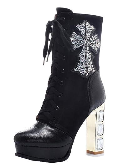 2e41ef54de58b8 YE Damen Blockabsatz High Heels Plateau Stiefel mit Schnürung und  Reißverschluss Glitzer Strass 11cm Absatz Elegant Boots  Amazon.de  Schuhe    Handtaschen