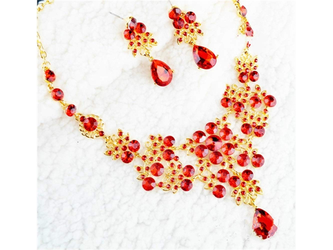 Yuchoi Girl Jewelry Girls' Jewelry Drop Shape Rhinestone Choker Clavicle Necklace Earrings Set(Red)
