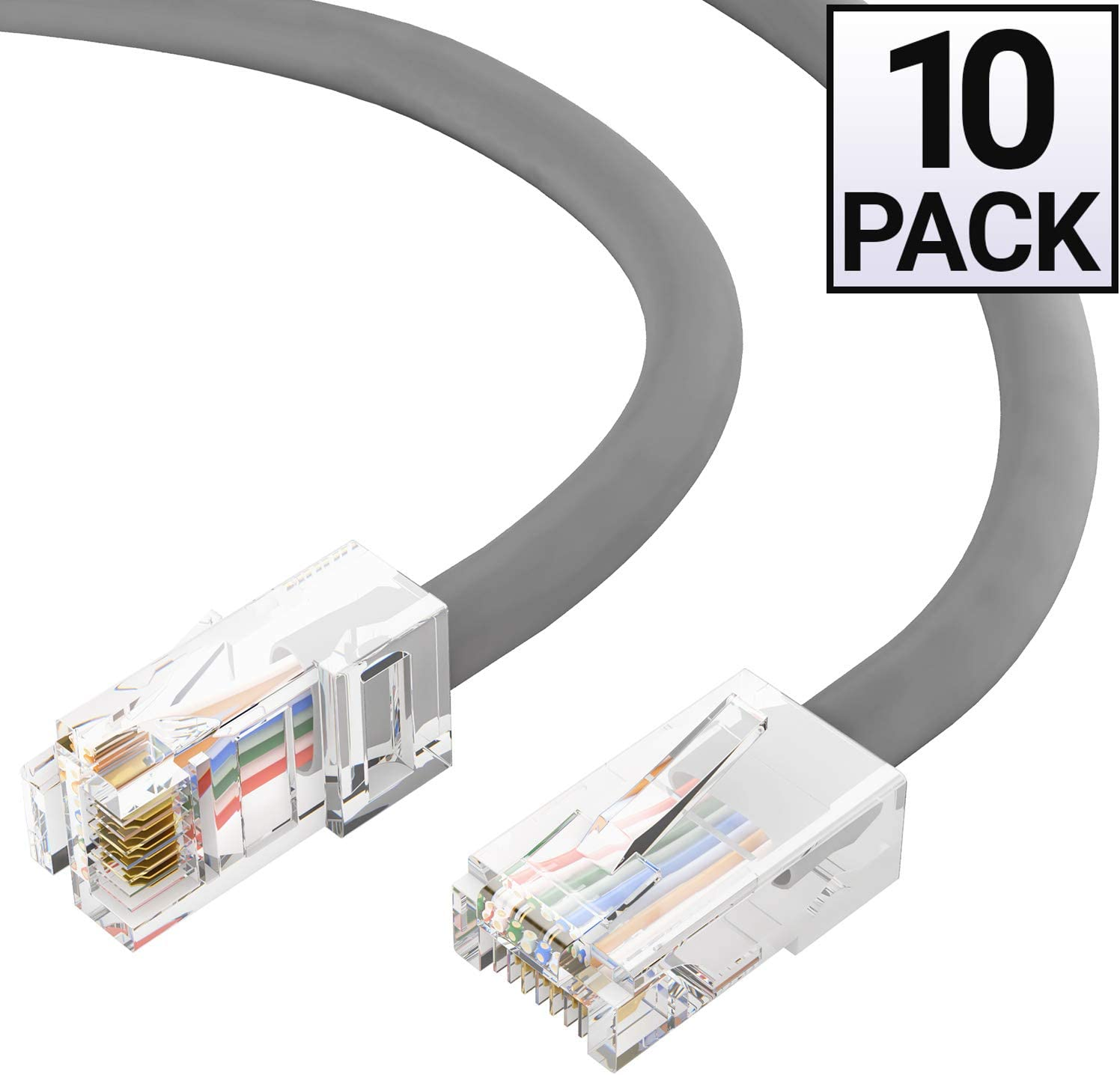 GOWOS 5-Pack CMP Cat5e Plenum Ethernet Cable Computer Network Cable with Bootless Connector Available in 28 Lengths and 10 Colors RJ45 10Gbps High Speed LAN Internet Cord 5 Feet - Gray