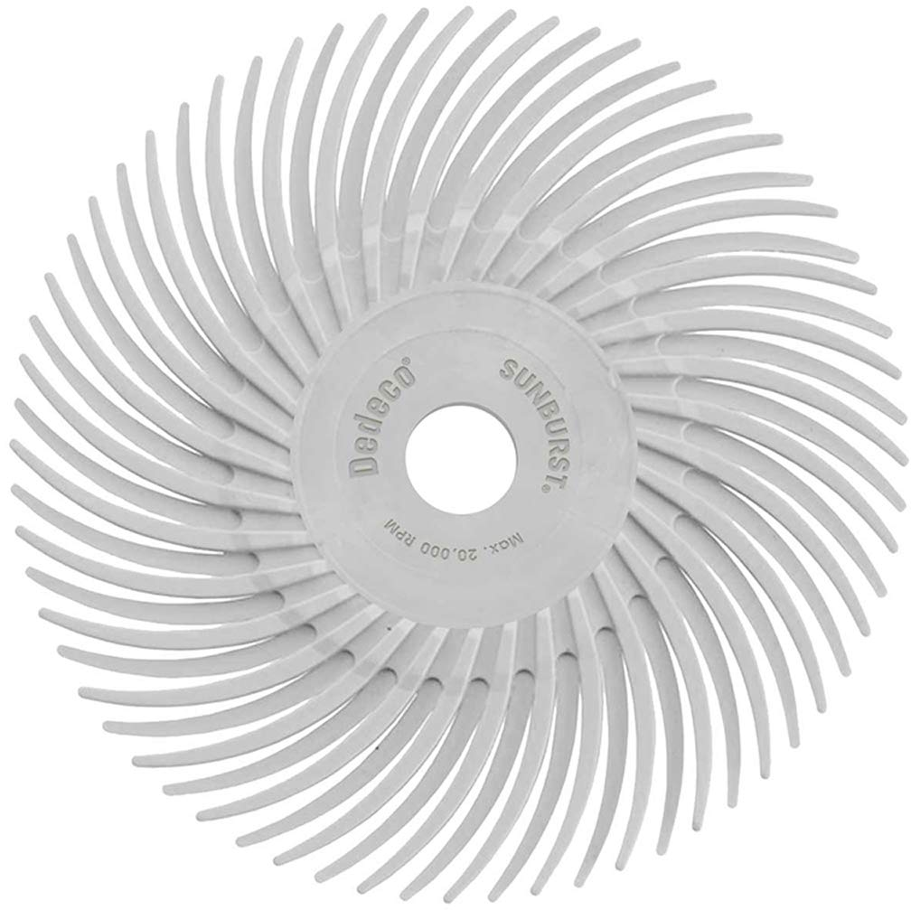 """12 Pack 3//8/"""" Arbor 3/"""" TC Radial Bristle Discs Dedeco Sunburst Coarse 80 Grit Industrial Thermoplastic Rotary Cleaning and Polishing Tool"""