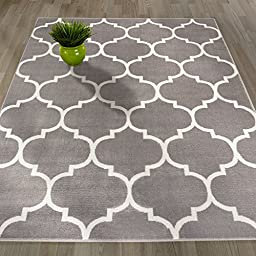 Sweethome King Collection Grey Moroccan Trellis Design (7\'10\