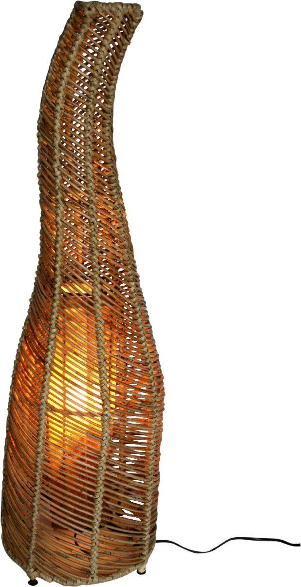 Guru-Shop Stehlampe Stehleuchte `Toledos 90-150 cm in Bali Handgemacht aus Naturmaterial, Rattan, Größe  90 cm, Dekolampe Stimmungsleuchte
