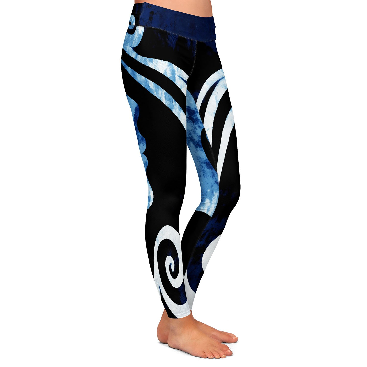 Wait for You Blue Athletic Yoga Leggings from DiaNoche Designs by Angelina Vick
